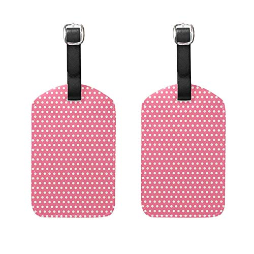 Set of 2 Luggage Tags Valentine's Dots Suitcase Labels Travel Accessories