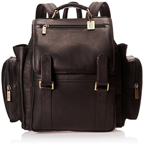 Claire Chase Jumbo Leather Small Laptop Backpack In Black