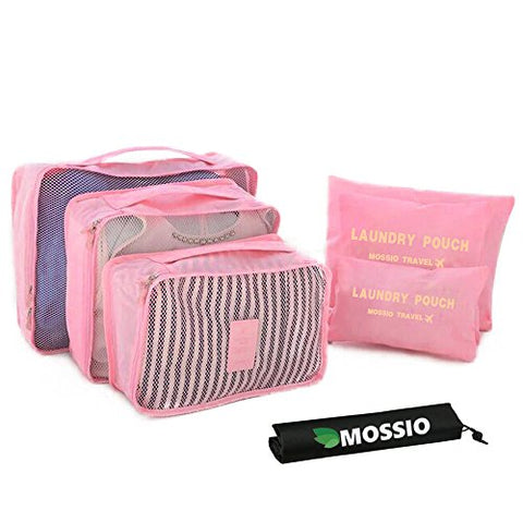 Packing Cubes Set,Mossio Waterproof 3 Packing Cubes and 3 Pouches Light Pink