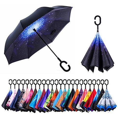 AmaGo Inverted Umbrella – Reverse Double Layer Umbrella, C-Shape Handle & Self-Stand to Spare