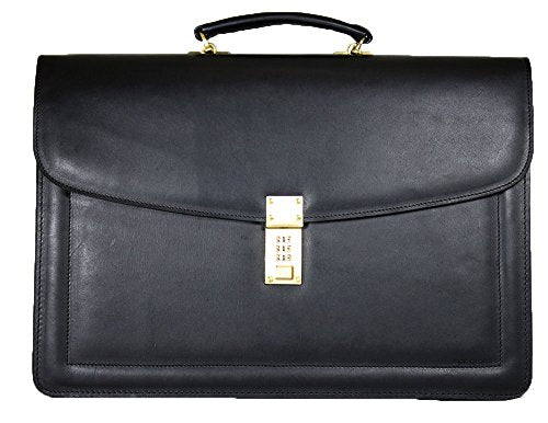 Jack Georges Belting Triple Gusset Leather Briefcase w/Combination Lock in Black