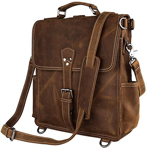 Berchirly Genuine Leather Laptop Backpack Bookbag For Men Women Large Travel Rucksack Brown
