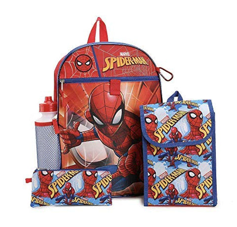 Fast Forward Spiderman 5 Piece Backpack Set Lunch Bag Water Bottle Pencil Bag