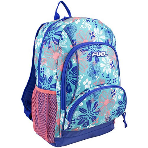 Fuel Floral Casual Daypack, Blue/Coral Floral Print