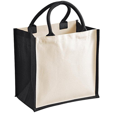 Westford Mill Printers Midi Jute Shopping Bag - 5 Colours Available - Black