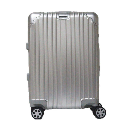 Boarding Suitcase, Aluminum-Magnesium Alloy Trolley Case, Durable Pc Luggage Case, With Tsa Lock Rotating Wheels, Silver, 20 inch