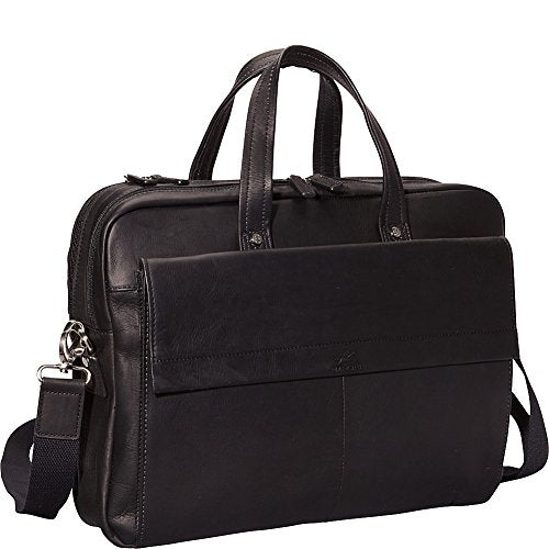 Mancini Leather Goods Colombian Leather Double Compartment Laptop Briefcase
