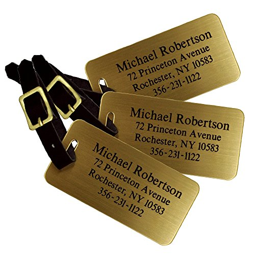 Custom Luggage Tag - Custom Engraved Brass Luggage Tag - Set of 3 - Personalized Luggage Tag - Perfect Gift for Boss - Professional Gift for Coworker