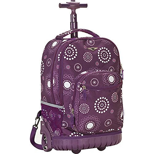 Rockland Luggage 19 Inch Rolling Backpack Printed, Purple Pearl