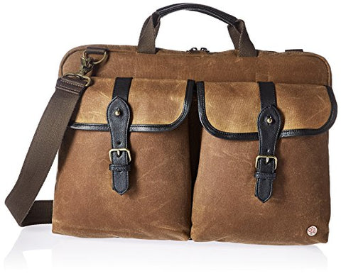 Token Bags Waxed Knickerbocker Laptop Bag 15 Inch, Tan/Black, One Size