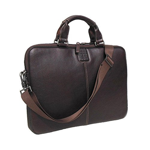 Boconi Tyler Tumbled Sleeve Leather Brief in Coffee w/ Khaki