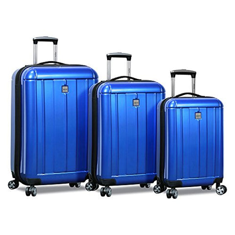 Dejuno Contour 3-Piece Hardside Spinner TSA Lock, Blue