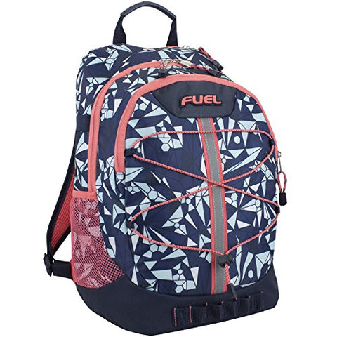 Fuel Terra Sport Spacious School Backpack with Front Bungee, Blue/Coral
