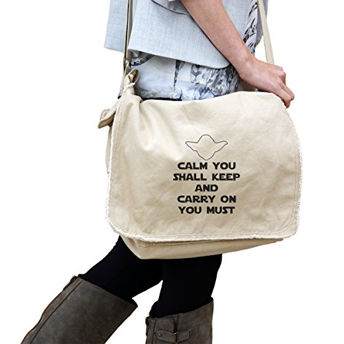 Calm You Shall Keep Carry On You Must Yoda Inspired 14 oz. Authentic Pigment-Dyed Raw-Edge Messenger Bag Tote