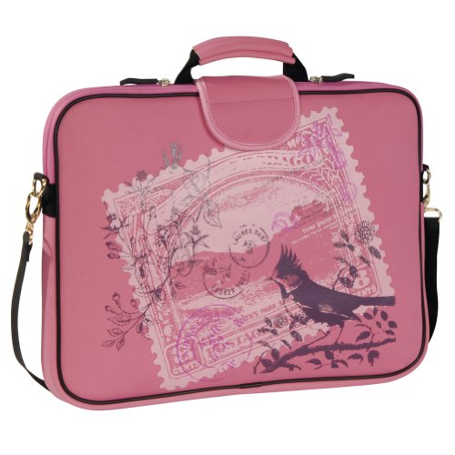 Laurex 17-Inch Laptop Sleeve Case Bag W/ Handle And Shoulder Strap, Pink Stamp