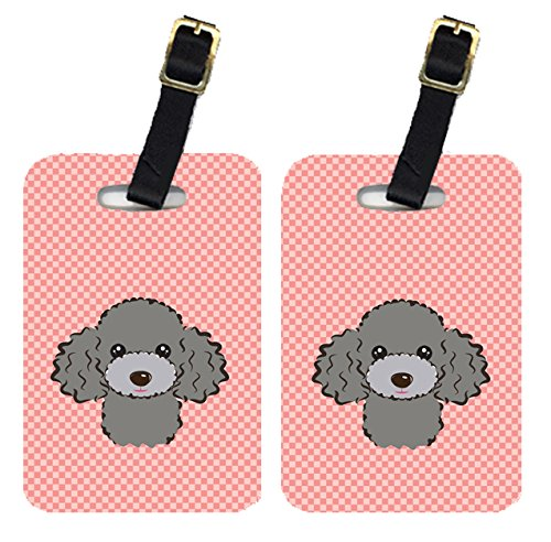 Caroline's Treasures BB1259BT Pair of Checkerboard Pink Silver Gray Poodle Luggage Tags, Large,