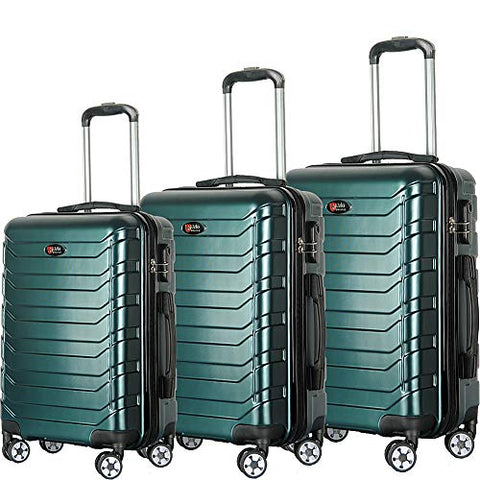 Brio Luggage Evergreen 3 Piece Hardside Spinner Luggage Set (Dark Green)