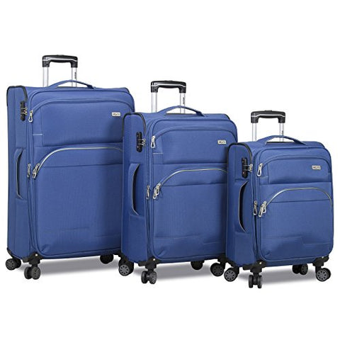 Dejuno Everest 3-Piece Expandable Spinner Combination Lock Luggage Set-Navy, Blue