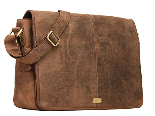 DH Rohtaang Leather Messenger Bag for men / women Leather Laptop Messenger Briefcase Satchel Brown