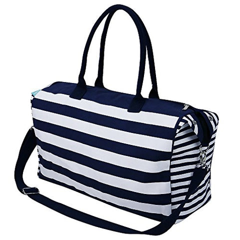 Travel Totes Luggage, Canvas Travel Storage Bag, Blue Stripes