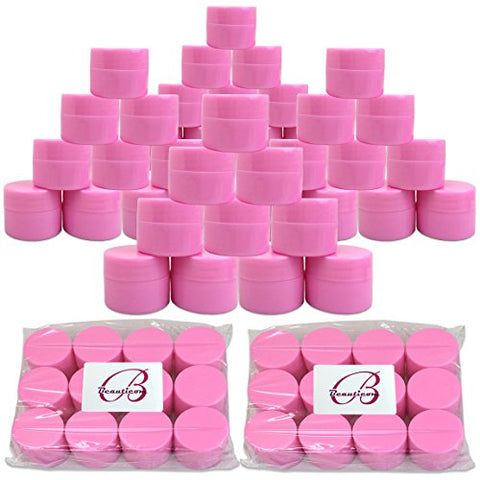 Beauticom 48 Pieces 7G/7ML (0.25oz) PINK Sturdy Thick Double Wall Plastic Container Jar with Foam Lined Lid for Scrubs, Oils, Salves, Creams, Lotions - BPA Free (Quantity: 48 Pieces)