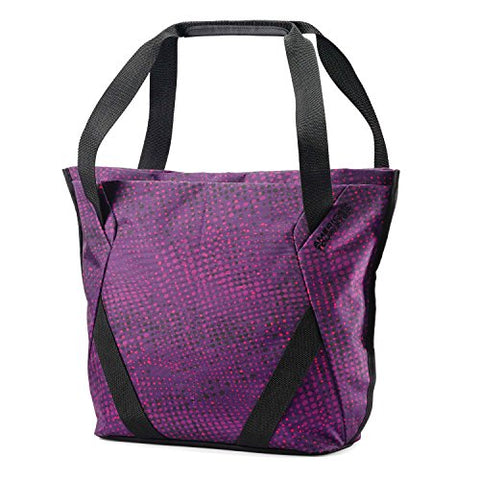 American Tourister Zoom Shopper Tote Sling Tote, Purple Dots