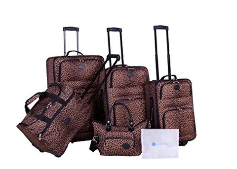 American Flyer Barnum 6-Piece Luggage Set, Leopard