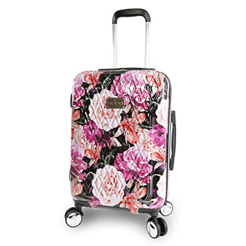"Bebe Women'S Marie 21"" Hardside Carry-On Spinner Luggage, Black Floral Print"