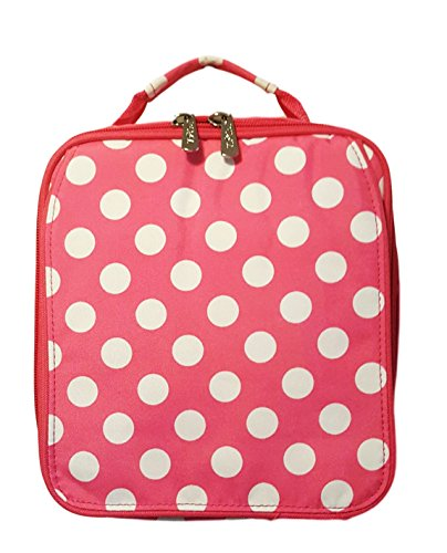Monogrammed Pink Polka Dot Back To School Lunch Tote