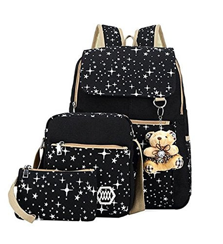 Girls' Canvas Backpack Set 3 Pieces Patterned Bookbag Laptop School Backpack (black)