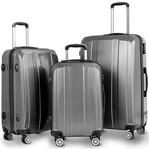 "GHP 20"" 24"" 28"" Gray ABS PC Polyester Travel Suitcase Trolleys w Aluminum Handle"