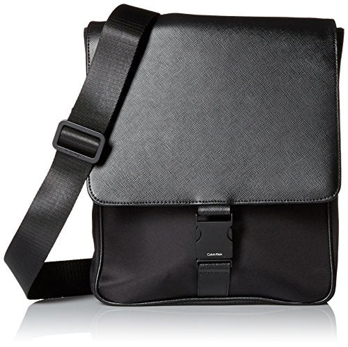 Calvin Klein Men's Nylon/Saffiano City Bag, Black