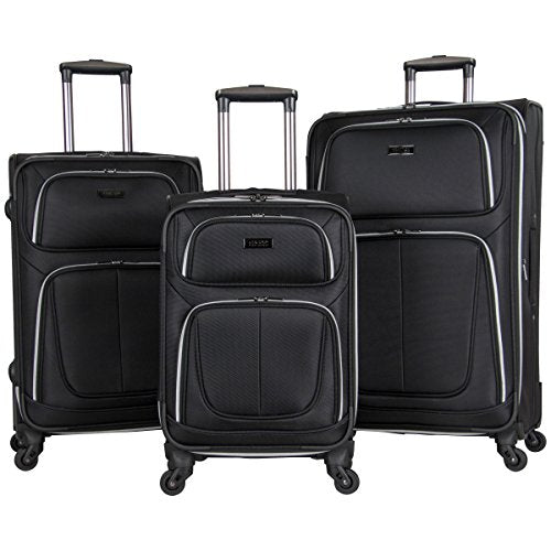 "Kenneth Cole Reaction 1680D Poly 4-Whl Exp 3-Piece Luggage Set: 20"", 24"", 28"", Black"