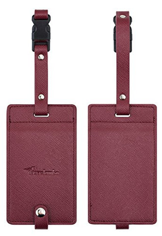 Travelambo Synethic Leather Luggage Tags & Bag Tags 2 Pieces Set In 8 Colors (Wine Red)