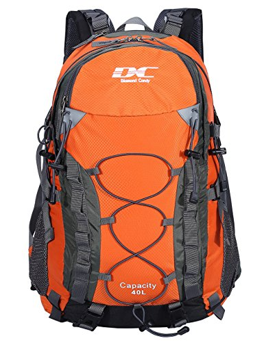 Diamond Candy Waterproof Hiking Backpack 40L with Rain Cover for Outdoor Orange