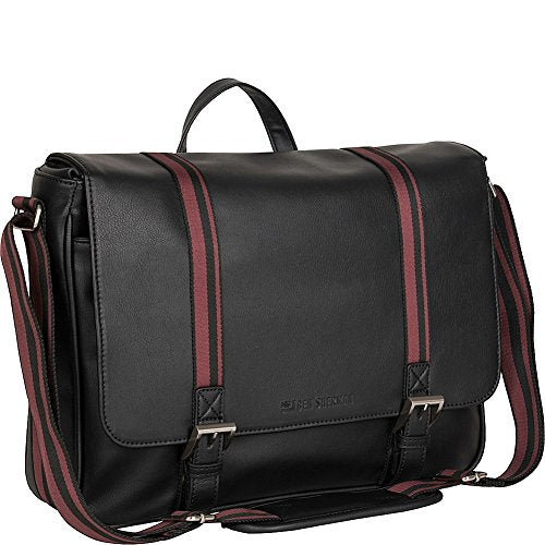 "Ben Sherman Faux Leather Single Gusset Flapover 15"" Computer Laptop Messenger Bag, Black, One Size"