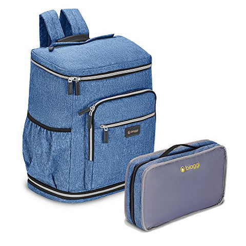 ZipSak Pro Foldable Travel Backpack With Cushioned Laptop Sleeve, Denim Blue