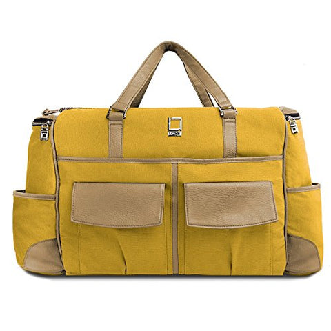 Lencca Canvas Travel Luggage Bag Shoulder Bag With Laptop Tablet Compartment (Mustard Yellow / Cool