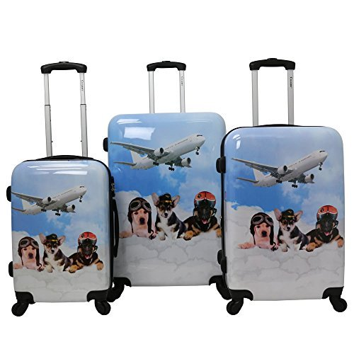 Chariot Doggie 3-Piece Expandable Hardside Lightweight Spinner Luggage Set, Pilots