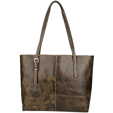 Womens Vintage Leather Tote Bag Shoulder Sling Laptop Bag Handle Satchel Coffee