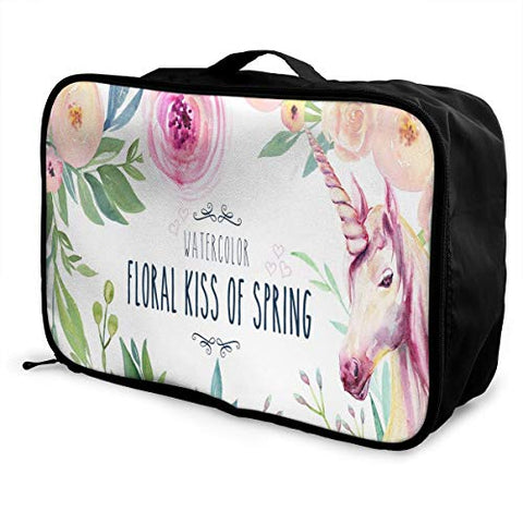 Travel Bags Watercolor Floral Kiss Of Spring Portable Foldable Trolley Handle Luggage Bag