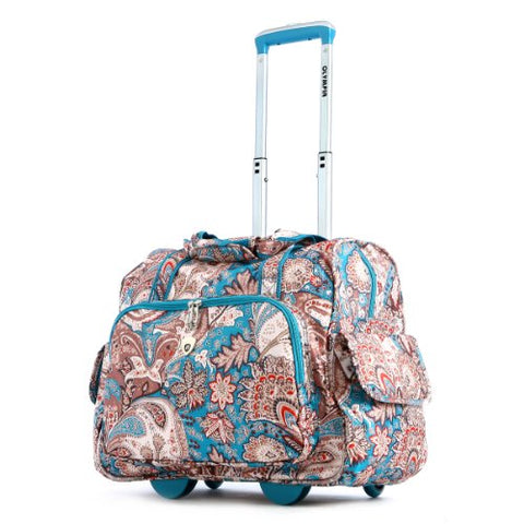 Olympia Deluxe Fashion Rolling Overnighter, Paisley, One Size