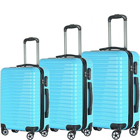 Brio Luggage Eco Light 3 Piece Hardside Spinner Luggage Set (Light Blue)