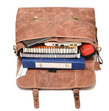 DH Shillong 15 Inch Retro Buffalo Hunter Leather Laptop Messenger Bag Office Briefcase College Bag