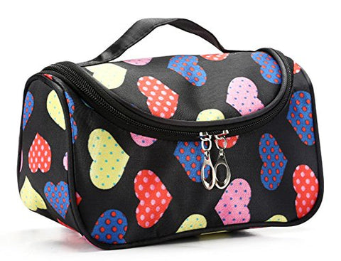 Stylesilove Womens Compact Cosmetic Organizer Beauty Essential Makeup Bag (Multi Hearts Black)