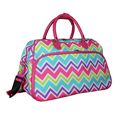 "World Traveler 21"" Carry-On Shoulder Tote Duffel Bag, Pink Trim Chevron Multi, One Size"