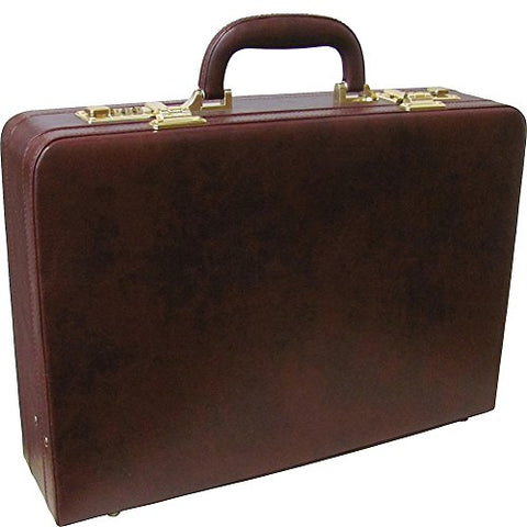 AmeriLeather Expandable Executive Faux Leather Attache Case (Dark Burgundy)