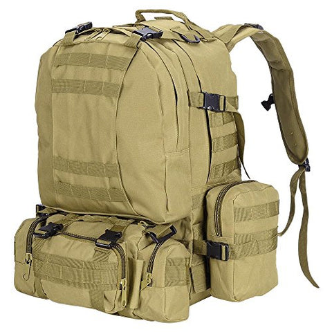 "Aw Mud Color Waterproof Camping Bag 23X19X5.5"" Oxford Nylon Backpack Travel Military Tactical"