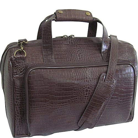 "AmeriLeather Croco-Print 16"" Leather Carry-On Weekend Duffel (Dark Brown"