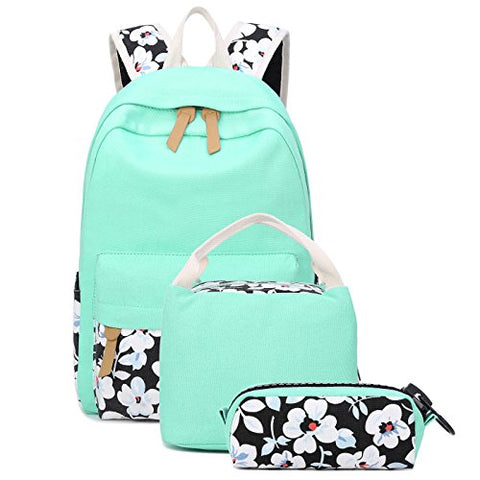 School Backpacks for Teen Girls Lightweight Canvas Backpack Bookbags Set (Light Green-1)
